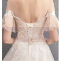 Flutter Sleeves Vintage Ivory Boho Wedding Gown With Romantic Train - Ref M1902 - 04
