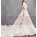 Flutter Sleeves Vintage Ivory Boho Wedding Gown With Romantic Train - Ref M1902 - 05