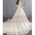 A-line Illusion Organza Bridal Dress With Train - Ref M1904 - 02