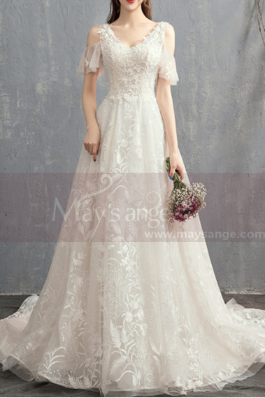 White wedding dress - V-Neck Embroidered Bodice Bohemian Wedding Dresses With Flounce Sleeve - M1906 #1