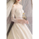 Embroidered Lace Top Ivory Long Sleeve Ball Gowns With Train - Ref M1908 - 03
