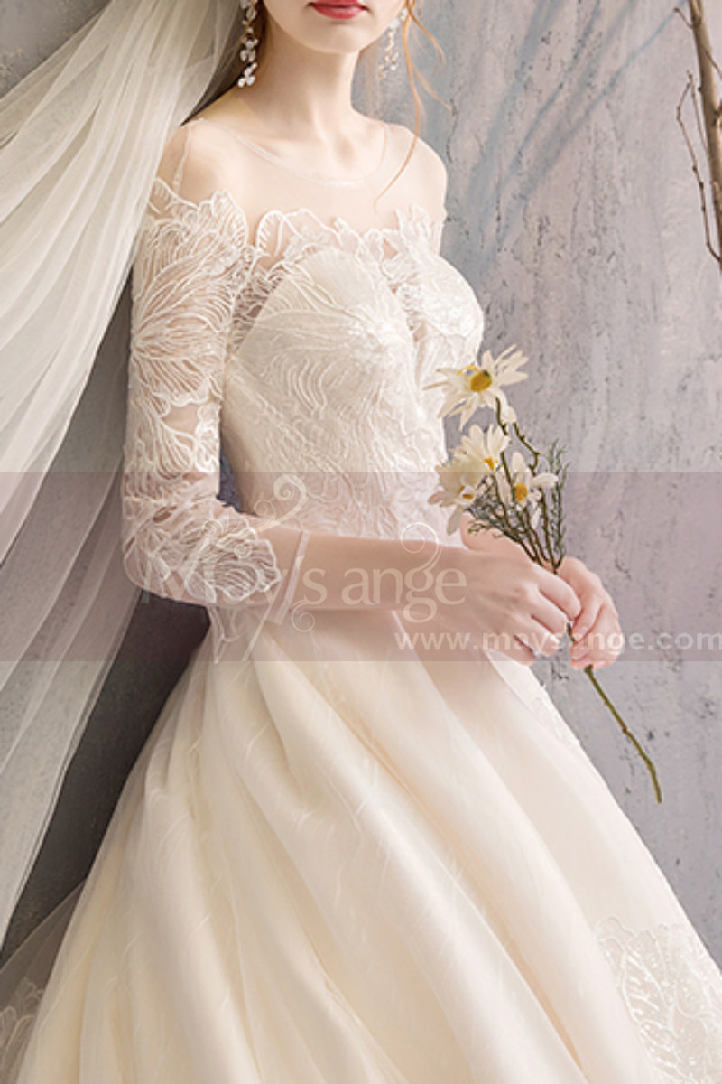 Embroidered Lace Top Ivory Long Sleeve Ball Gowns With Train