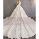 Long Sleeve Ivory Wedding Dresses With Embroidered Lace Appliqued Bodice - Ref M1909 - 04