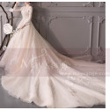 Long Sleeve Ivory Wedding Dresses With Embroidered Lace Appliqued Bodice - Ref M1909 - 05