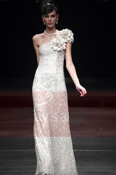 Long evening dress - Sequined White Evening Dress With Floral Strap - L007 #1