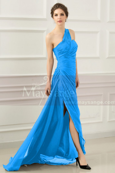 Blue evening dress - One Shoulder Long Black Blue Prom Dress With Slit - L531 #1