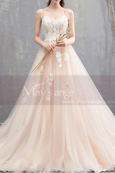 Ivory Spaghetti Strap Ball Gown Wedding Dresses Sweetheart Bodice with Lace Appliqued And Court Train - M1912 #1