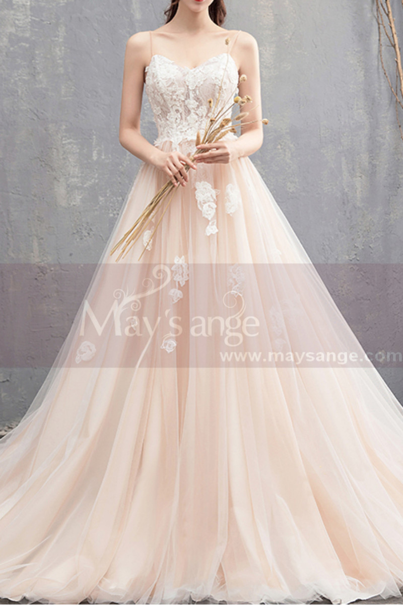398fbdeead3 Ivory Spaghetti Strap Ball Gown Wedding Dresses Sweetheart Bodice with Lace  Appliqued And Court Train -