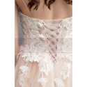Ivory Spaghetti Strap Ball Gown Wedding Dresses Sweetheart Bodice with Lace Appliqued And Court Train - Ref M1912 - 05