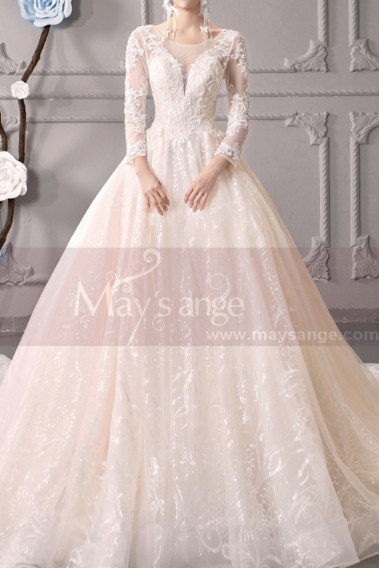 White wedding dress - Wedding Dresses With Illusion Lace Long Length Sleeves And Deep Scooped Back - M1914 #1