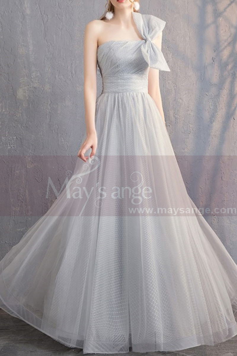 Pale Gray Ceremonial Long Maxi Dress in Organza with a Large Bow Simple Brace - Ref L1927 - 01