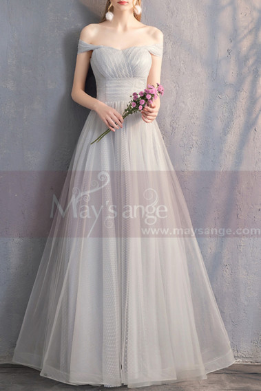 Sexy Evening Dress - Long Chiffon Off-The-Shoulder Gray Prom Dress Pretty Knot On The Back - L1928 #1