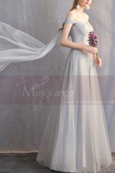 Long Chiffon Off-The-Shoulder Gray Prom Dress Pretty Knot On The Back - L1928 #1