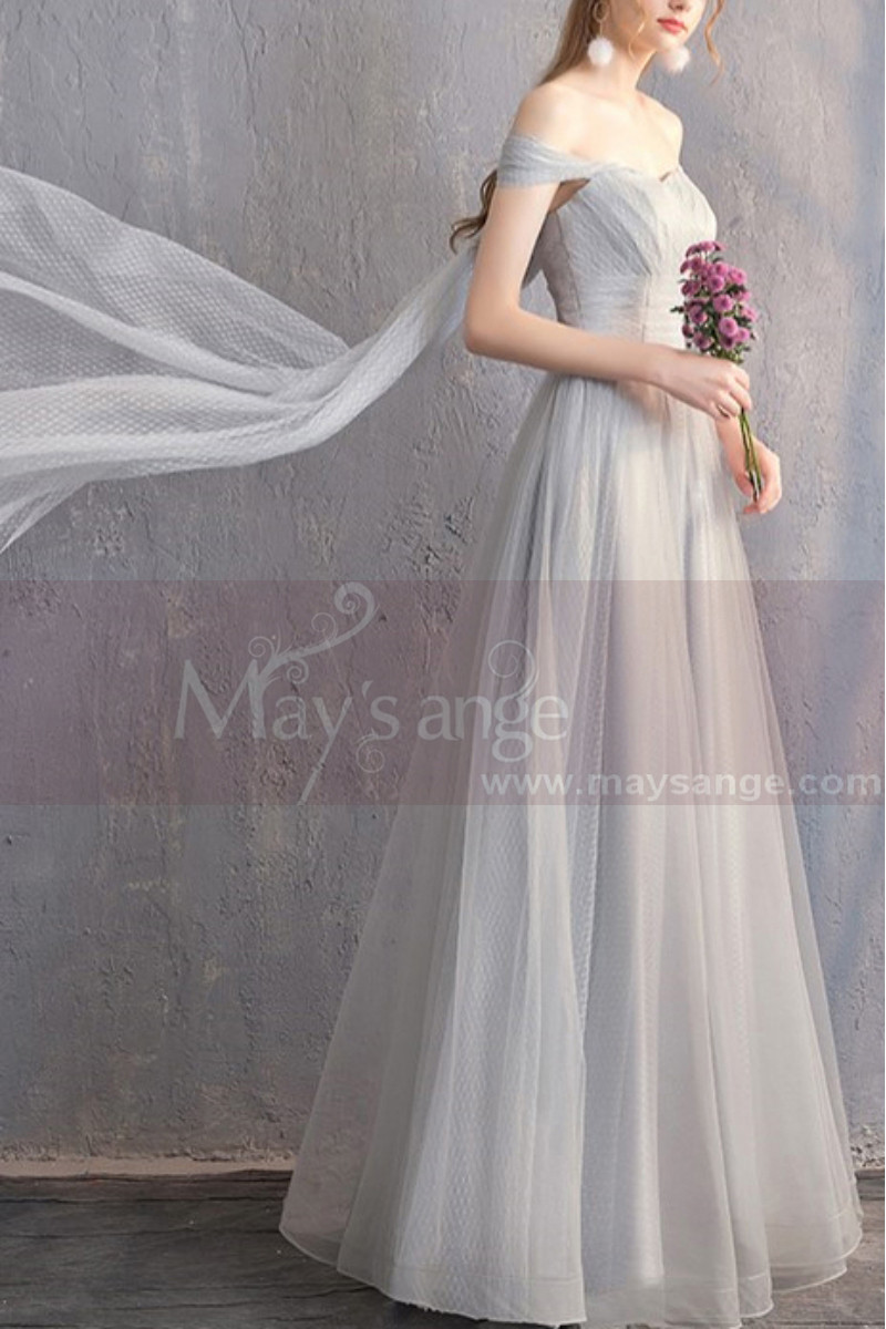 Long Chiffon Off-The-Shoulder Gray Prom Dress Pretty Knot On The Back - Ref L1928 - 01