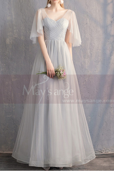 Sexy Evening Dress - Short Flutter-Sleeve Gray Vintage Prom Dresses - L1929 #1