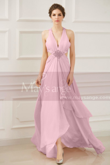 Pink evening dress - Open Back Sexy Powder Pink Evening Dresses With Slit - L758 #1