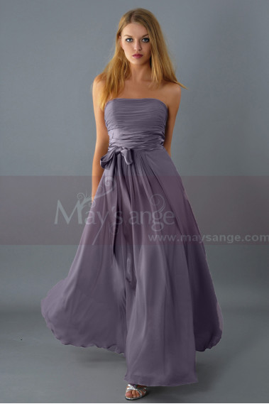 Gray evening dress - Taupe Semi-Formal Long Dress For Bridesmaid - L083 #1