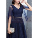 Long Navy Blue Evening Dress With Ruffle Sleeves - Ref L1931 - 03