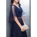 Long Navy Blue Evening Dress With Ruffle Sleeves - Ref L1931 - 06