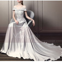 Beautiful Long Satin Silver Prom Dress With Train - Ref L1932 - 05