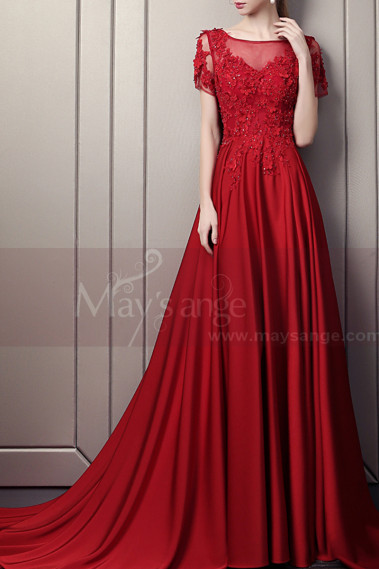 Red evening dress - Elegant Long Ball Gown Dress With Sleeves - L1933 #1