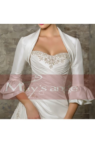 White winter long sleeve bolero bridal - BOL001 #1