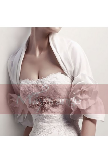White bridal bolero 3/4 flower sleeve - BOL012 #1