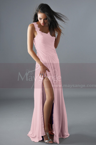 Pink Sexy Cocktail Dress One Embroidered Strap And Slit - L160 #1