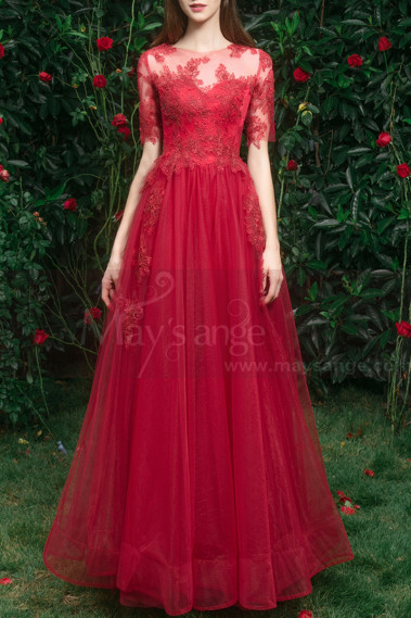 Prom Dresses Collection 2019 - copy of Embroidered Pink Long Formal Gowns With Sleeves - L1935 #1