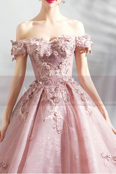 Prom Dresses Collection 2019 - copy of Embroidered Pink Long Formal Gowns With Sleeves - P1902 #1