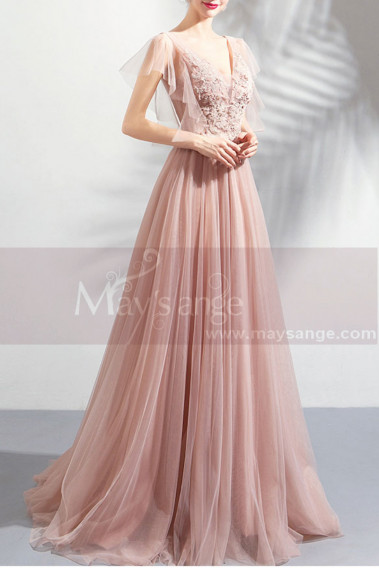 Pink evening dress - Long Tulle Embellished V-Neck Backless Prom Dress - L1941 #1