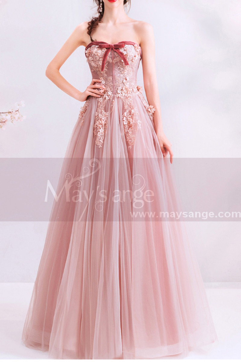 Embroidered Long Pink Formal Gowns With