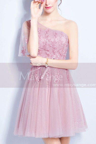 Short cocktail dress - Pink Short Bridesmaid One-Shoulder Dresses - C1920 #1