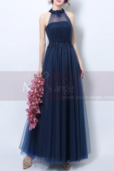 Navy Blue High-Neck Halter Formal Evening Gown