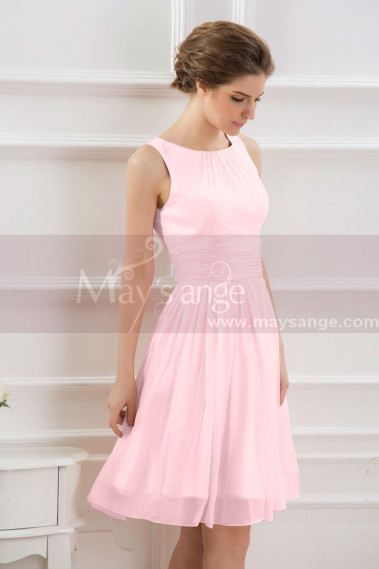 Pink evening dress - SHORT PARTY DRESS PINK WITH TIED WAIST BELT - C794 #1