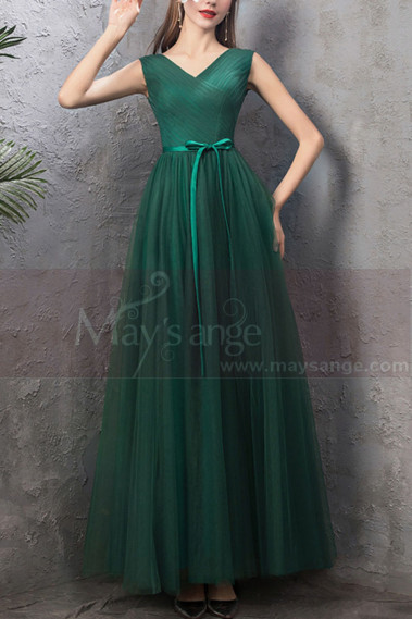 Green evening dress - copy of Floor Length Tulle Strapless Sweetheart Red Ball Gown - L1939 #1