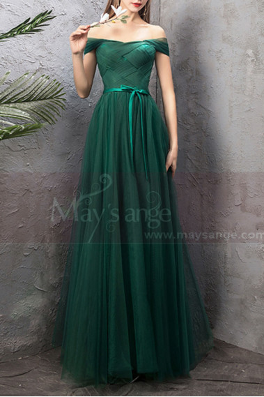 Green evening dress - copy of Floor Length Tulle Strapless Sweetheart Red Ball Gown - L1940 #1