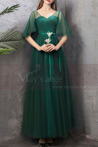 Green evening dress - copy of Floor Length Tulle Strapless Sweetheart Red Ball Gown - L1945 #1
