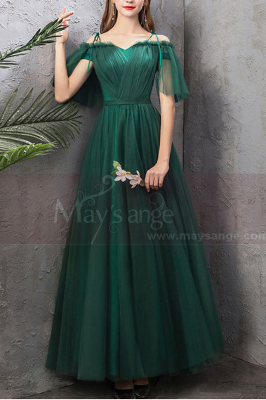 Green evening dress - copy of Floor Length Tulle Strapless Sweetheart Red Ball Gown - L1946 #1