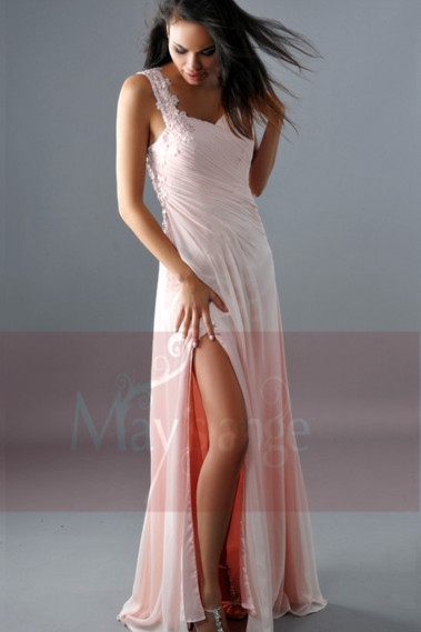 Evening Dress with straps - Pink Sexy Cocktail Dress One Embroidered Strap And Slit - L160 #1