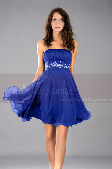 Blue cocktail dress - Short Blue Wedding-Guest Dress With Shiny Belt - C113 #1