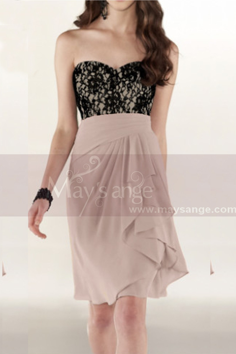 Short Strapless Cocktail Dress With Black Lace Bodice - Ref C800 - 01