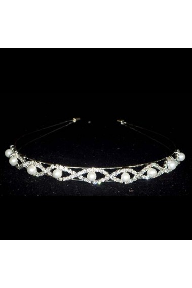 Wedding tiara with rhinestones and pearls - B021 #1