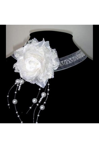 Wedding flower necklace with pearls - B022 #1