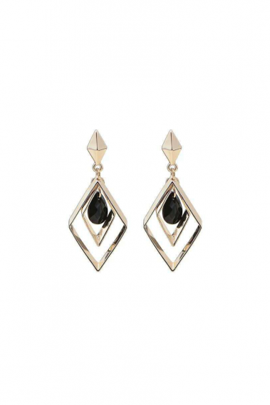 Ear Cuff geometric earring black stone - B109 #1