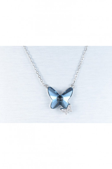 Blue jean butterfly necklace pendant - F062 #1
