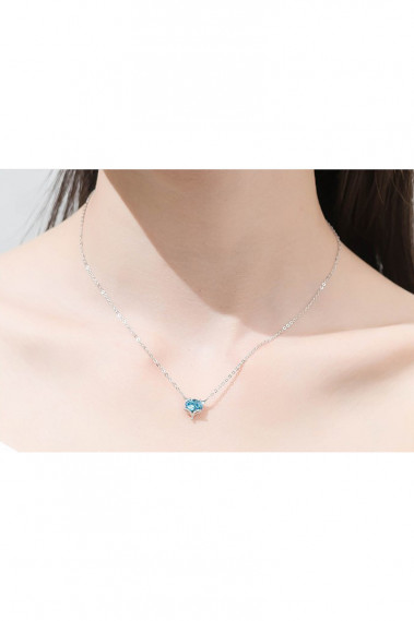 Silver Pendant Necklace Crystal Blue - F065 #1