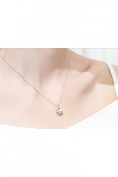 Silver chain love heart charm necklace - F069 #1