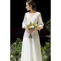 Long Sleeve White Evening Wedding Dress With Back Plunging neckline - Ref L1950 - 02
