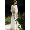 Long Sleeve White Evening Wedding Dress With Back Plunging neckline - Ref L1950 - 03